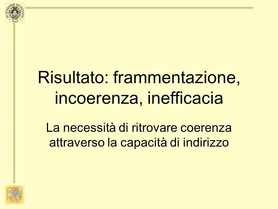 Risultato: frammentazione, incoerenza, inefficacia La necessità di ritrovare coerenza attraverso la capacità di indirizzo