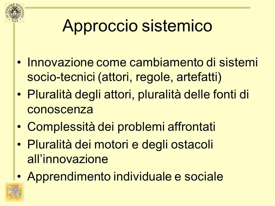 Approccio sistemico Innovazione come cambiamento di sistemi socio-tecnici (attori, regole, artefatti) Pluralità degli attori, pluralità delle fonti di conoscenza Complessità dei problemi affrontati Pluralità dei motori e degli ostacoli allinnovazione Apprendimento individuale e sociale