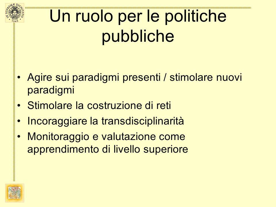 Un ruolo per le politiche pubbliche Agire sui paradigmi presenti / stimolare nuovi paradigmi Stimolare la costruzione di reti Incoraggiare la transdis
