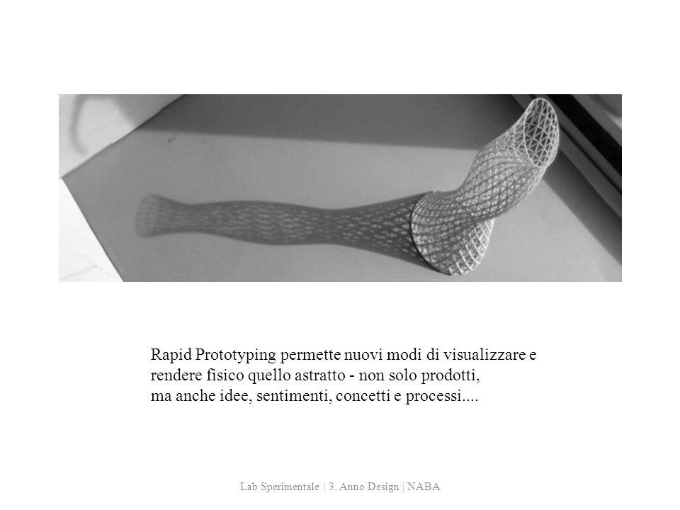 Rapid Prototyping permette nuovi modi di visualizzare e rendere fisico quello astratto - non solo prodotti, ma anche idee, sentimenti, concetti e processi....