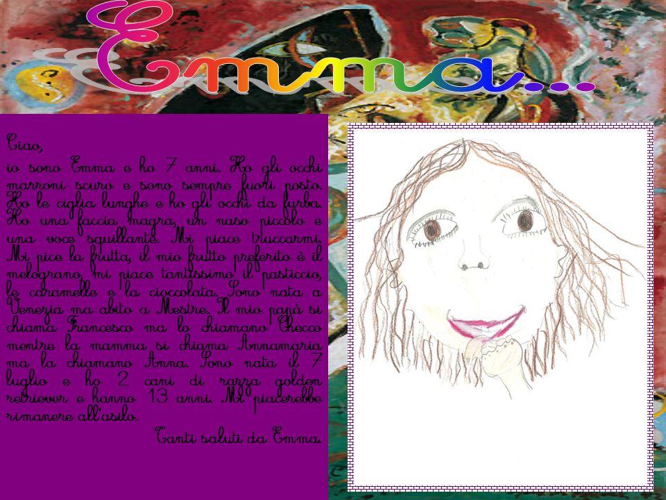 Ciao, io sono Emma e ho 7 anni. Ho gli occhi marroni scuro e sono sempre fuori posto. Ho le ciglia lunghe e ho gli occhi da furba. Ho una faccia magra