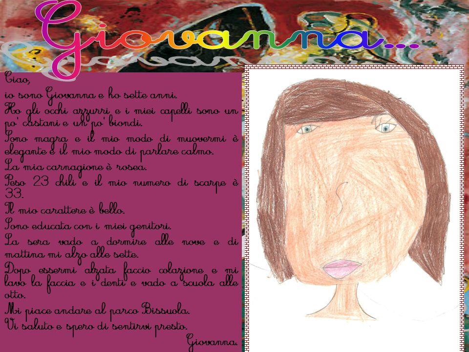 Ciao, io sono Giovanna e ho sette anni. Ho gli occhi azzurri e i miei capelli sono un po' castani e un po' biondi. Sono magra e il mio modo di muoverm