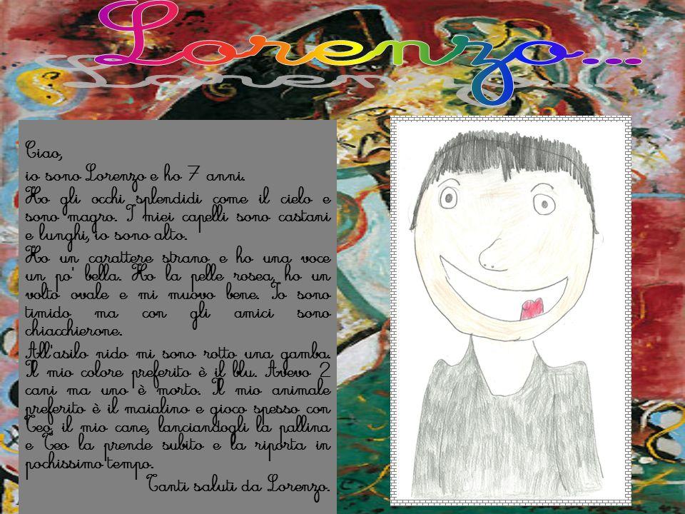 Ciao, io sono Lorenzo e ho 7 anni. Ho gli occhi splendidi come il cielo e sono magro. I miei capelli sono castani e lunghi, io sono alto. Ho un caratt