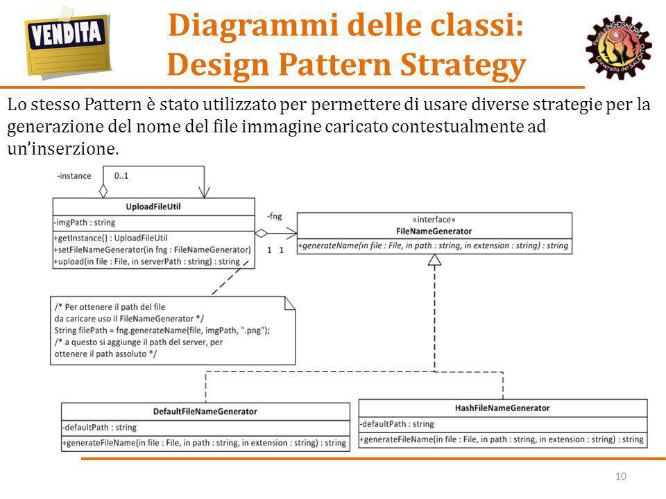 10 Diagrammi delle classi: Design Pattern Strategy Per consentire il calcolo del prezzo del totale del contenuto del Carrello, utilizzando molteplici