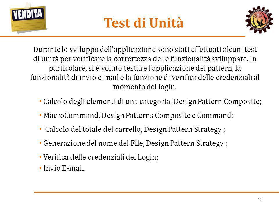 13 Test di Unità Durante lo sviluppo dell'applicazione sono stati effettuati alcuni test di unità per verificare la correttezza delle funzionalità svi