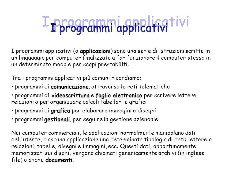 applicazioni I programmi applicativi (o applicazioni) sono una serie di istruzioni scritte in un linguaggio per computer finalizzate a far funzionare