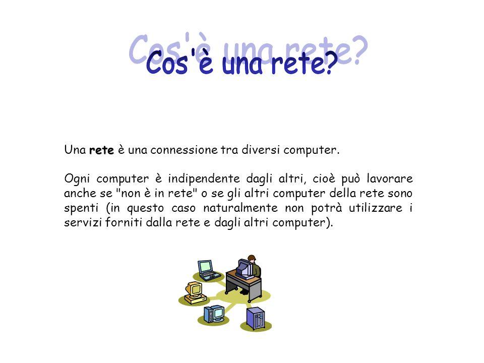 rete Una rete è una connessione tra diversi computer. Ogni computer è indipendente dagli altri, cioè può lavorare anche se