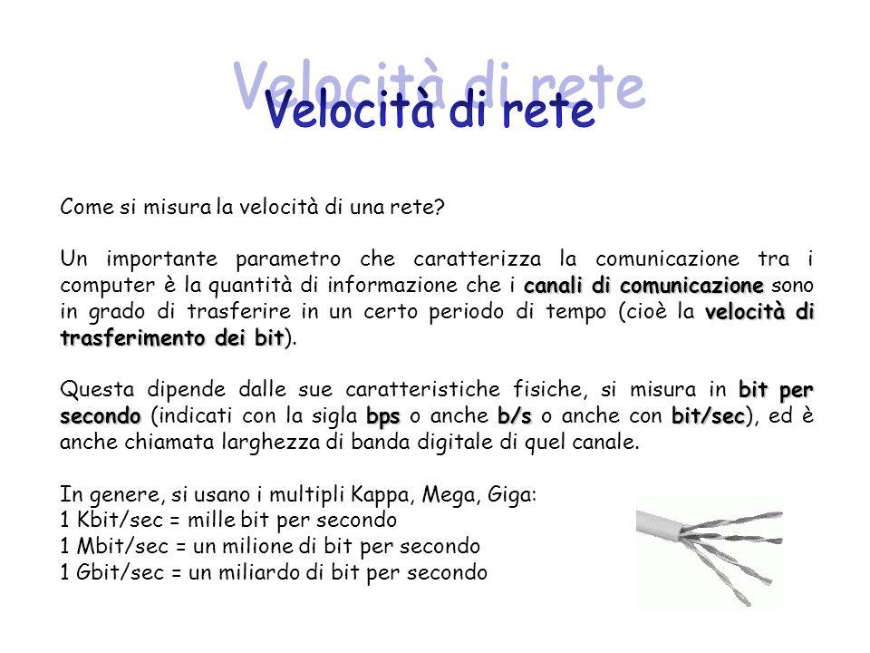 Come si misura la velocità di una rete? canali di comunicazione velocità di trasferimento dei bit Un importante parametro che caratterizza la comunica