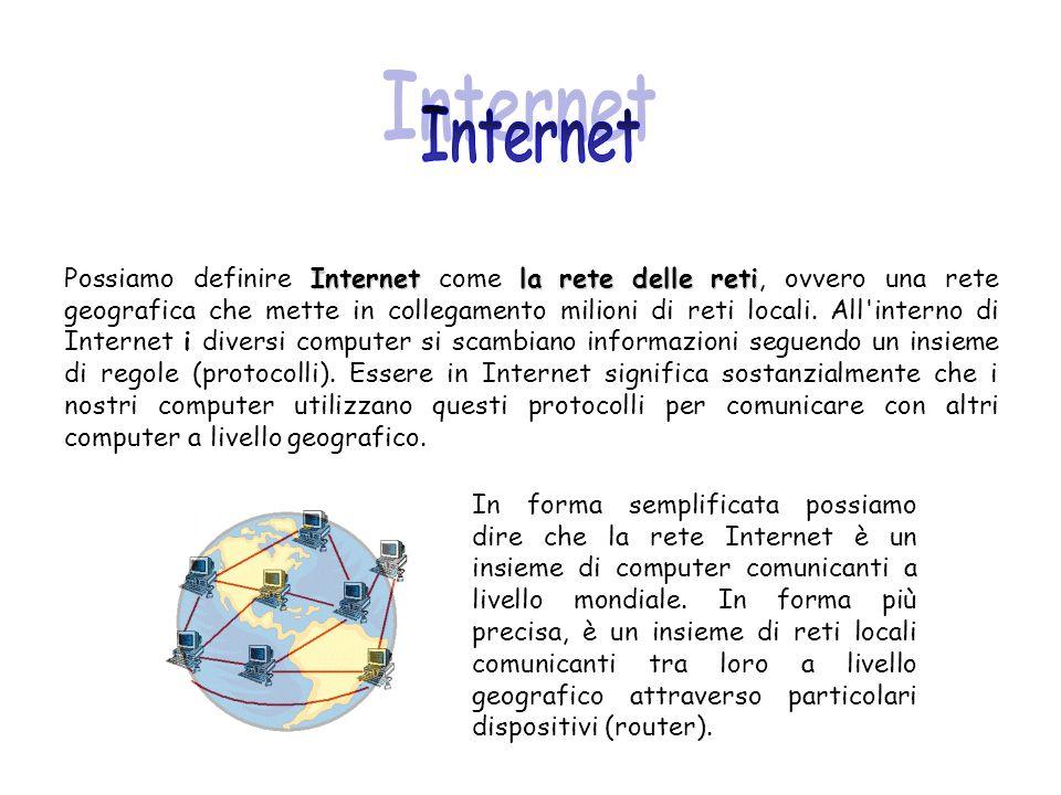 Internetla rete delle reti Possiamo definire Internet come la rete delle reti, ovvero una rete geografica che mette in collegamento milioni di reti lo