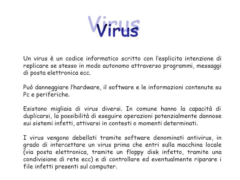 Un virus è un codice informatico scritto con lesplicita intenzione di replicare se stesso in modo autonomo attraverso programmi, messaggi di posta ele