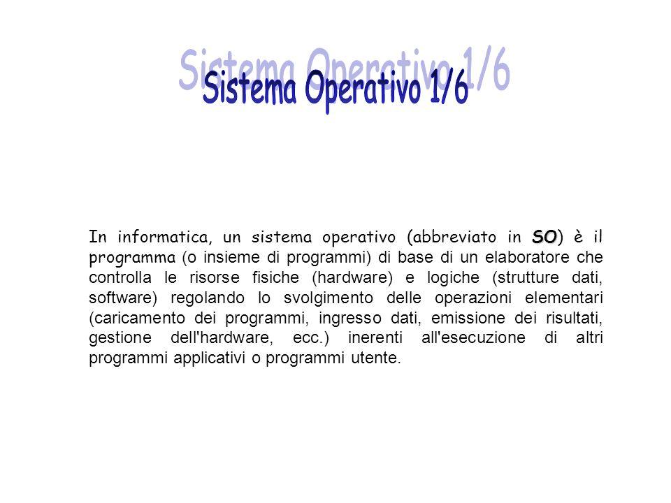 SO In informatica, un sistema operativo (abbreviato in SO) è il programma (o insieme di programmi) di base di un elaboratore che controlla le risorse