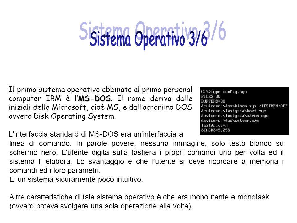 MS-DOS Il primo sistema operativo abbinato al primo personal computer IBM è lMS-DOS. Il nome deriva dalle iniziali della Microsoft, cioè MS, e dallacr