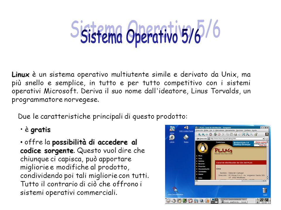 Linux Linux è un sistema operativo multiutente simile e derivato da Unix, ma più snello e semplice, in tutto e per tutto competitivo con i sistemi ope