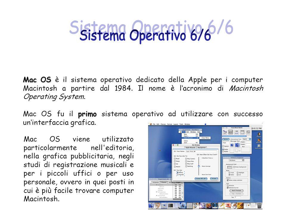 Mac OS Mac OS è il sistema operativo dedicato della Apple per i computer Macintosh a partire dal 1984. Il nome è lacronimo di Macintosh Operating Syst