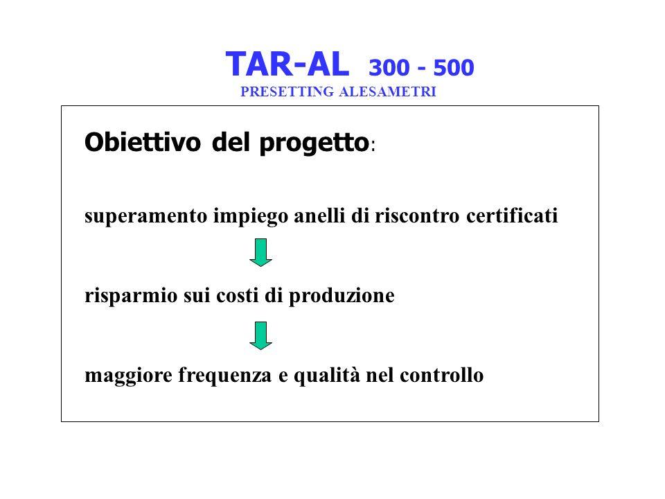 TAR-AL 300 - 500 PRESETTING ALESAMETRI Obiettivo del progetto : superamento impiego anelli di riscontro certificati risparmio sui costi di produzione