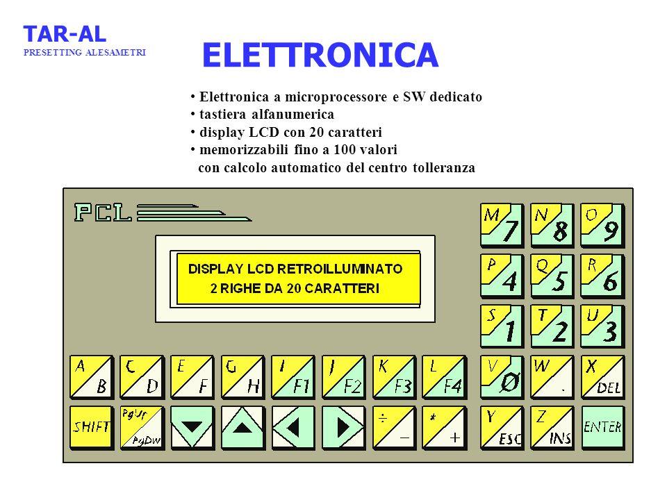 ELETTRONICA Elettronica a microprocessore e SW dedicato tastiera alfanumerica display LCD con 20 caratteri memorizzabili fino a 100 valori con calcolo
