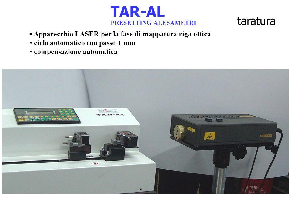 TAR-AL PRESETTING ALESAMETRI taratura Apparecchio LASER per la fase di mappatura riga ottica ciclo automatico con passo 1 mm compensazione automatica
