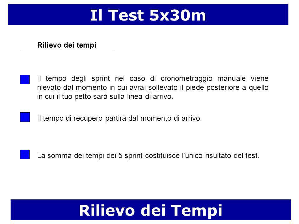 Il Test 5x30m Rilievo dei tempi Il tempo degli sprint nel caso di cronometraggio manuale viene rilevato dal momento in cui avrai sollevato il piede posteriore a quello in cui il tuo petto sarà sulla linea di arrivo.