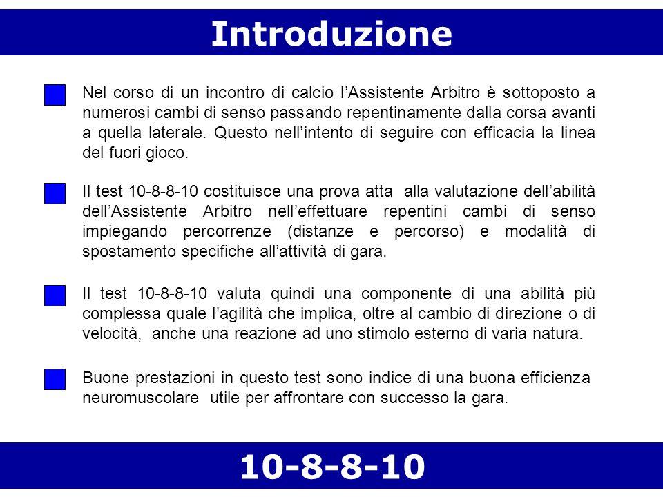 Introduzione 10-8-8-10 Nel corso di un incontro di calcio lAssistente Arbitro è sottoposto a numerosi cambi di senso passando repentinamente dalla cor