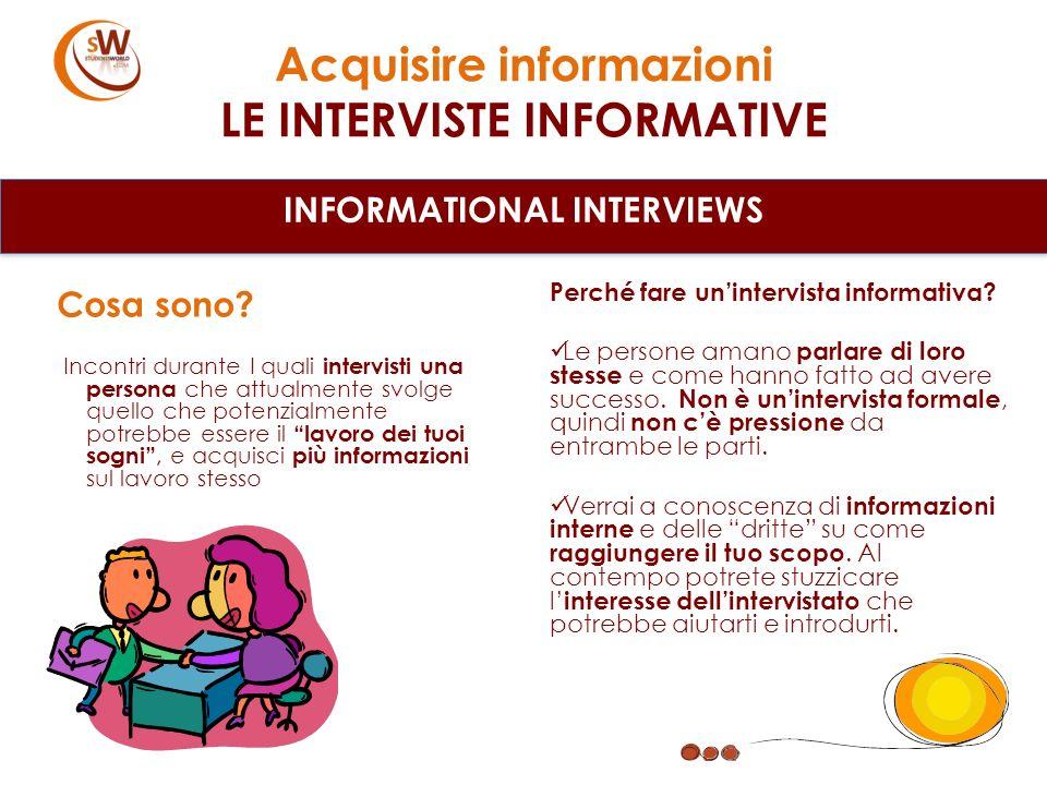 Acquisire informazioni LE INTERVISTE INFORMATIVE INFORMATIONAL INTERVIEWS Cosa sono? Incontri durante I quali intervisti una persona che attualmente s