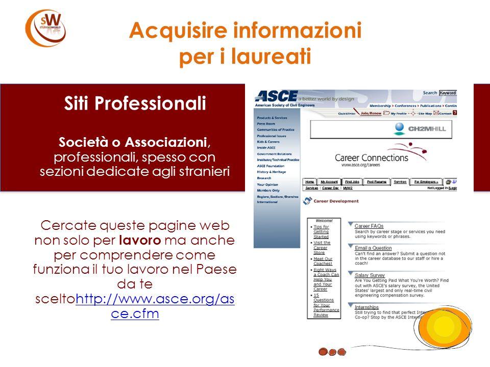 Siti Professionali Società o Associazioni, professionali, spesso con sezioni dedicate agli stranieri Cercate queste pagine web non solo per lavoro ma