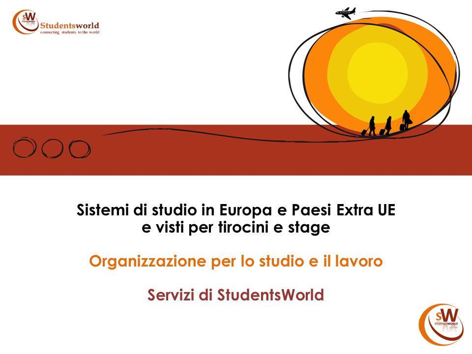 Sistemi di studio in Europa e Paesi Extra UE e visti per tirocini e stage Organizzazione per lo studio e il lavoro Servizi di StudentsWorld