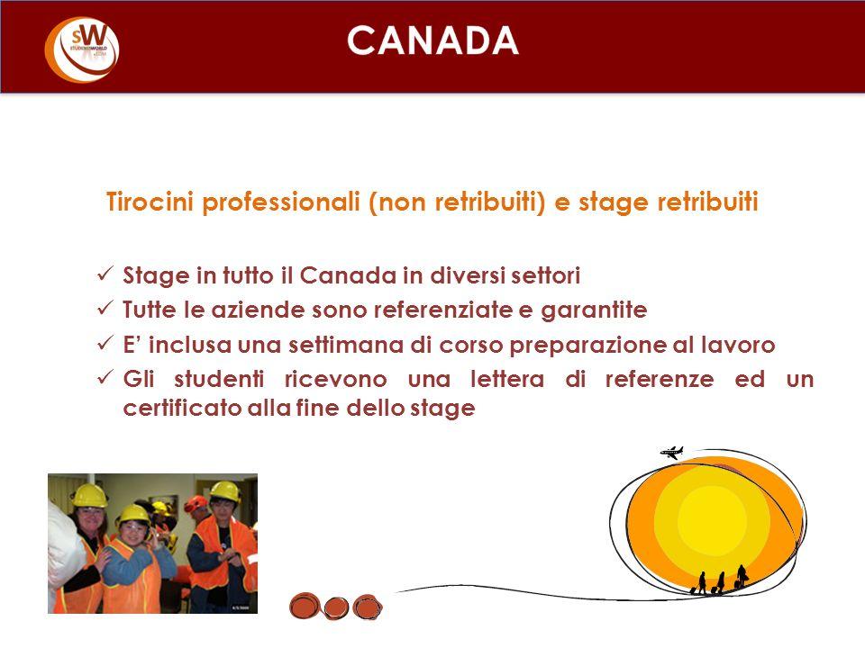 Tirocini professionali (non retribuiti) e stage retribuiti Stage in tutto il Canada in diversi settori Tutte le aziende sono referenziate e garantite E inclusa una settimana di corso preparazione al lavoro Gli studenti ricevono una lettera di referenze ed un certificato alla fine dello stage