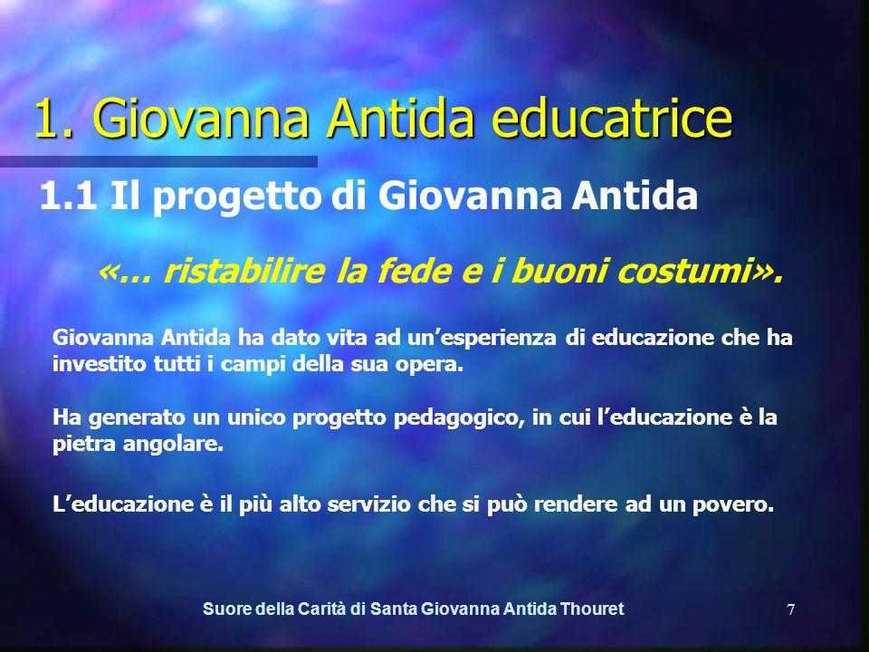 Suore della Carità di Santa Giovanna Antida Thouret6 Introduzione Il documento e il suo significato In Italia, noi Suore della Carità ci sentiamo chiamate ad un coraggioso rinnovamento nellavventura delleducazione.