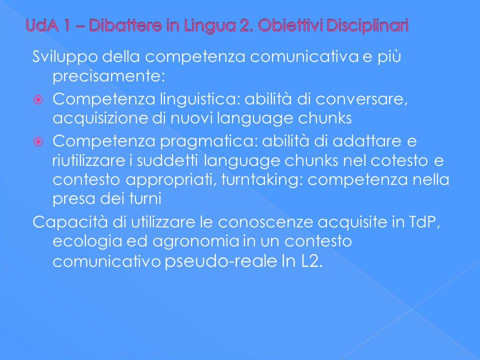 Sviluppo della competenza comunicativa e più precisamente: Competenza linguistica: abilità di conversare, acquisizione di nuovi language chunks Compet