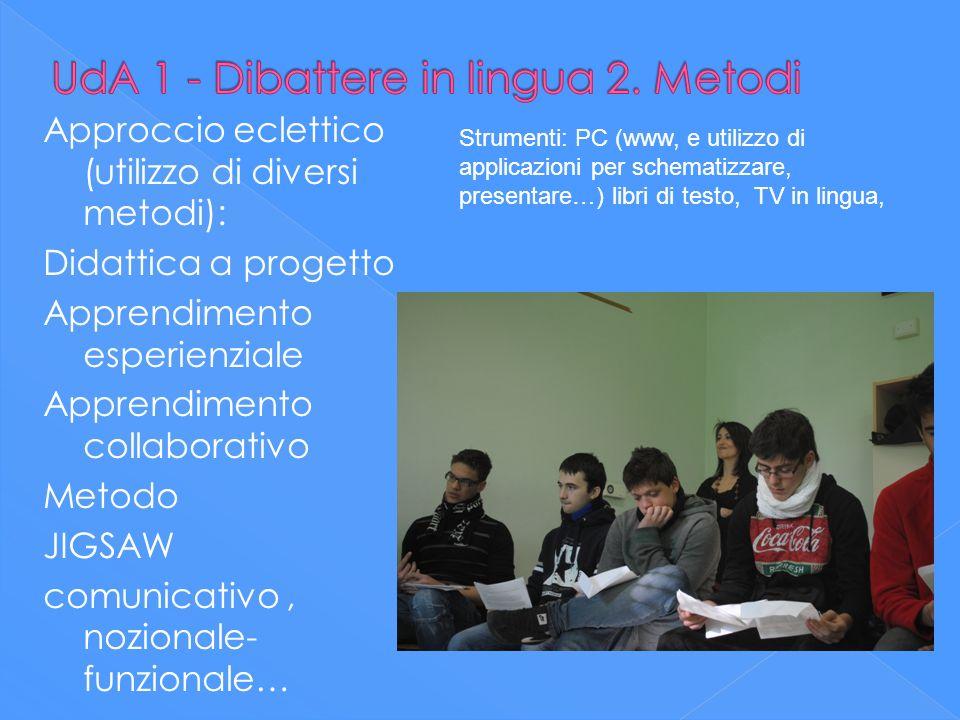 Approccio eclettico (utilizzo di diversi metodi): Didattica a progetto Apprendimento esperienziale Apprendimento collaborativo Metodo JIGSAW comunicat