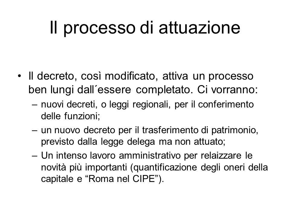 Il processo di attuazione Il decreto, così modificato, attiva un processo ben lungi dall´essere completato.