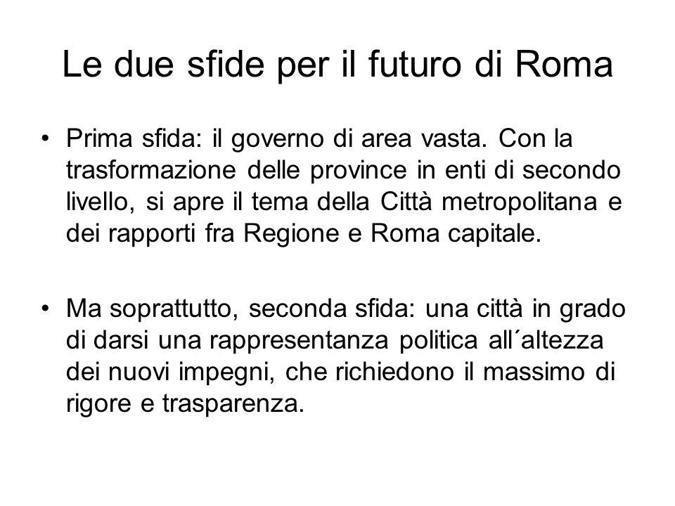 Le due sfide per il futuro di Roma Prima sfida: il governo di area vasta.