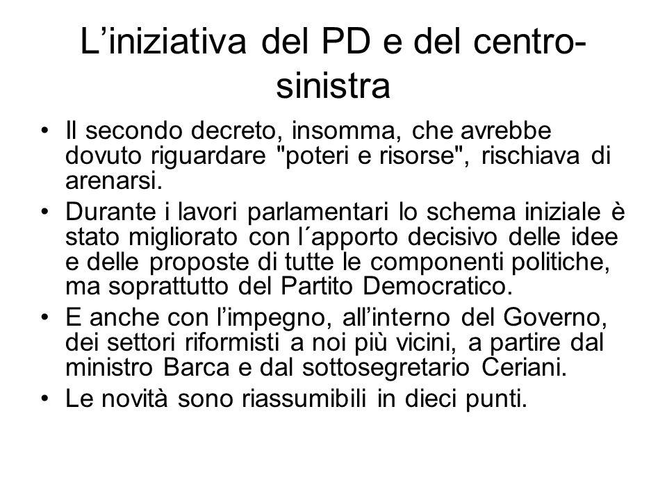 Liniziativa del PD e del centro- sinistra Il secondo decreto, insomma, che avrebbe dovuto riguardare poteri e risorse , rischiava di arenarsi.