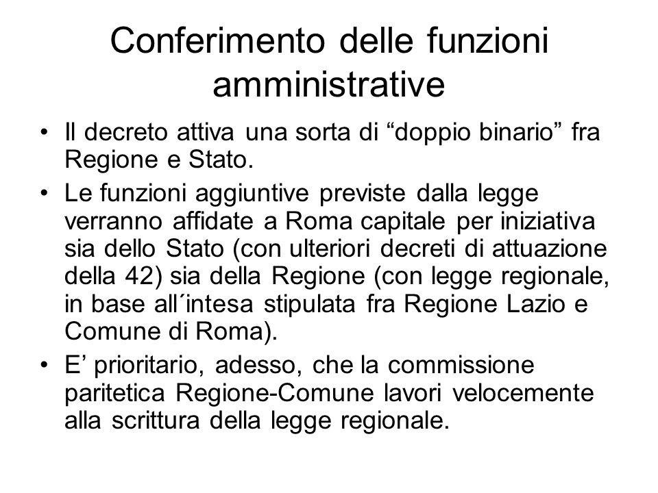 Conferimento delle funzioni amministrative Il decreto attiva una sorta di doppio binario fra Regione e Stato.