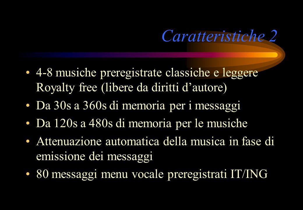 Caratteristiche 2 4-8 musiche preregistrate classiche e leggere Royalty free (libere da diritti dautore) Da 30s a 360s di memoria per i messaggi Da 12