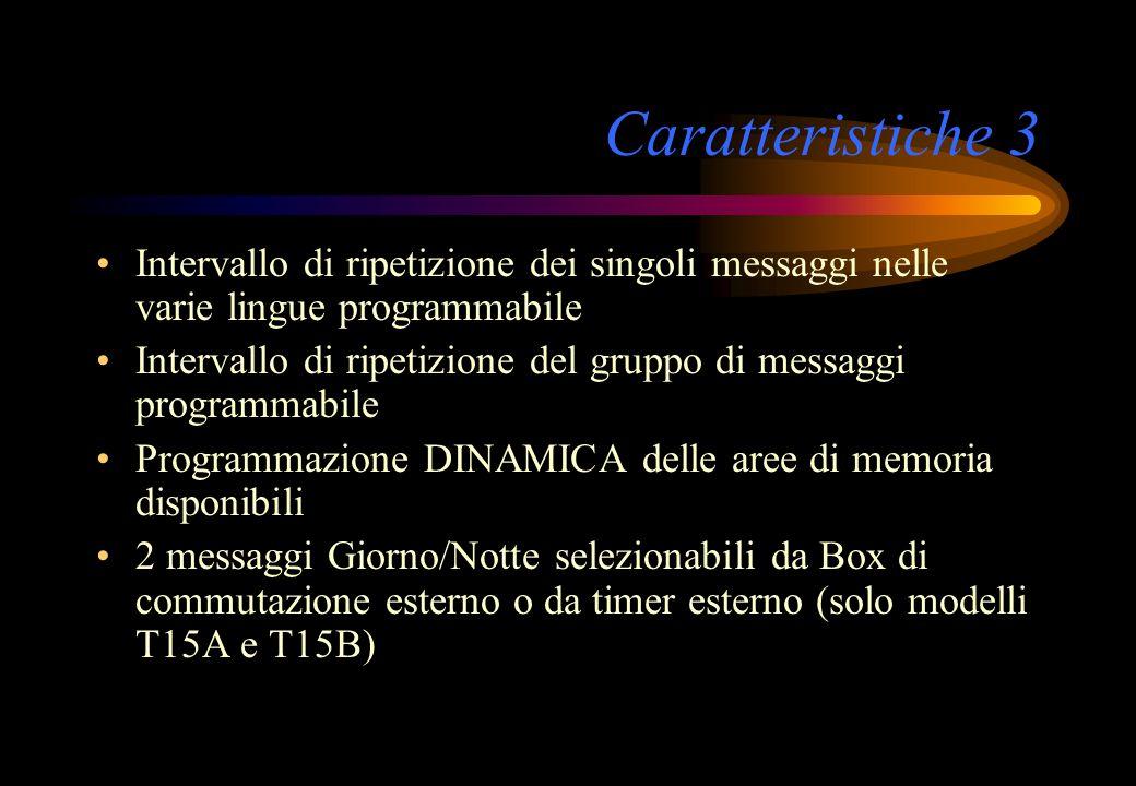 Caratteristiche 3 Intervallo di ripetizione dei singoli messaggi nelle varie lingue programmabile Intervallo di ripetizione del gruppo di messaggi pro