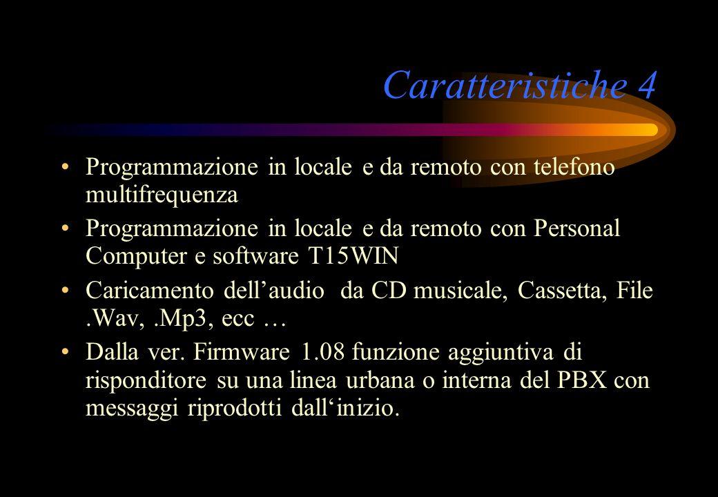 Caratteristiche 4 Programmazione in locale e da remoto con telefono multifrequenza Programmazione in locale e da remoto con Personal Computer e softwa
