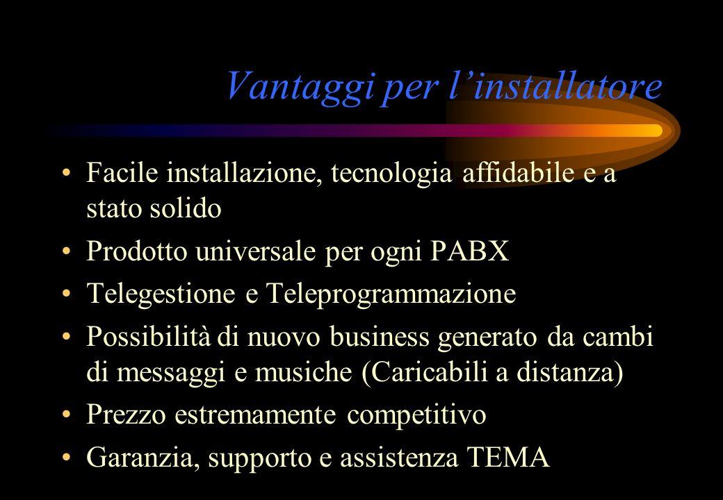Vantaggi per linstallatore Facile installazione, tecnologia affidabile e a stato solido Prodotto universale per ogni PABX Telegestione e Teleprogramma