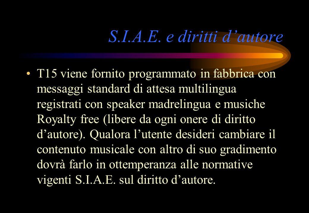 S.I.A.E. e diritti dautore T15 viene fornito programmato in fabbrica con messaggi standard di attesa multilingua registrati con speaker madrelingua e