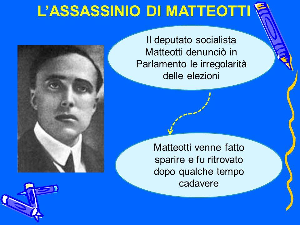 LASSASSINIO DI MATTEOTTI Il deputato socialista Matteotti denunciò in Parlamento le irregolarità delle elezioni Matteotti venne fatto sparire e fu rit
