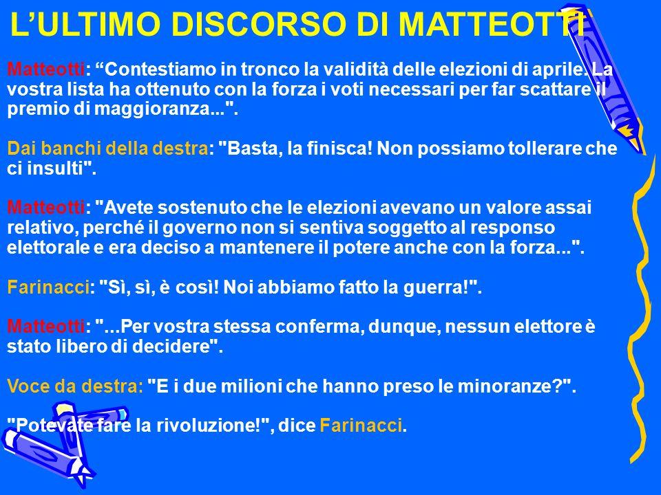 LULTIMO DISCORSO DI MATTEOTTI Matteotti: Contestiamo in tronco la validità delle elezioni di aprile. La vostra lista ha ottenuto con la forza i voti n