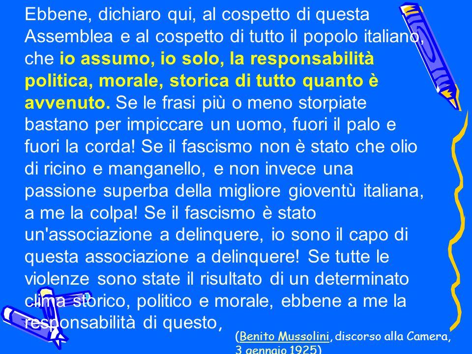 Ebbene, dichiaro qui, al cospetto di questa Assemblea e al cospetto di tutto il popolo italiano, che io assumo, io solo, la responsabilità politica, m