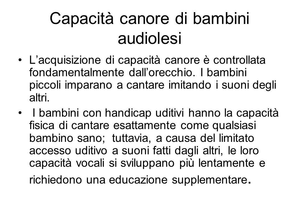 Capacità canore di bambini audiolesi Lacquisizione di capacità canore è controllata fondamentalmente dallorecchio. I bambini piccoli imparano a cantar