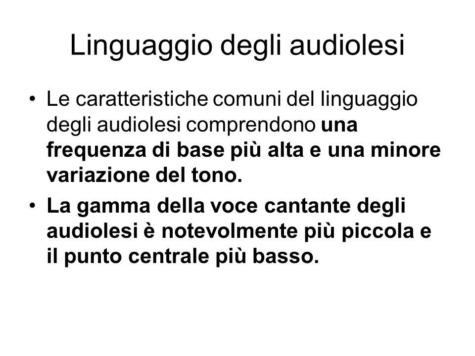 Linguaggio degli audiolesi Le caratteristiche comuni del linguaggio degli audiolesi comprendono una frequenza di base più alta e una minore variazione