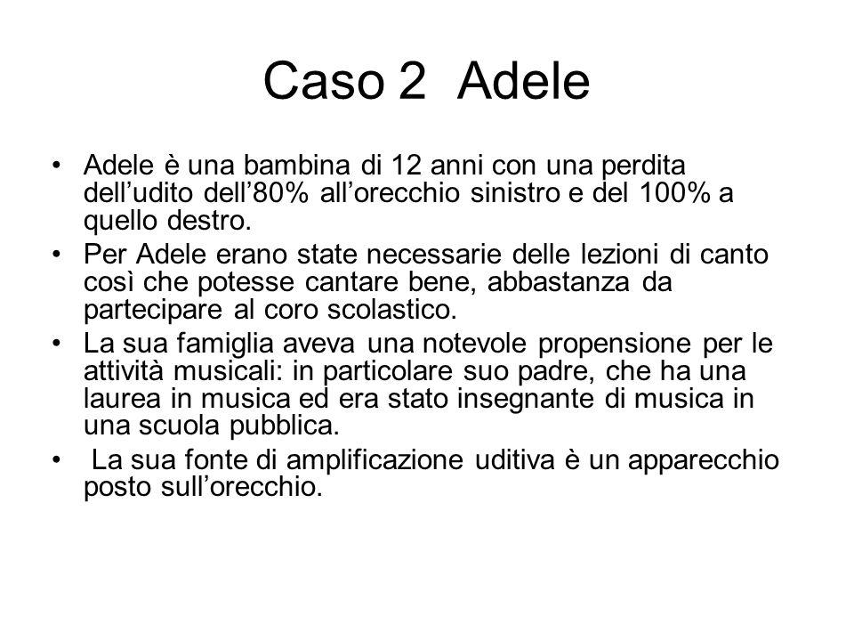 Caso 2 Adele Adele è una bambina di 12 anni con una perdita delludito dell80% allorecchio sinistro e del 100% a quello destro. Per Adele erano state n