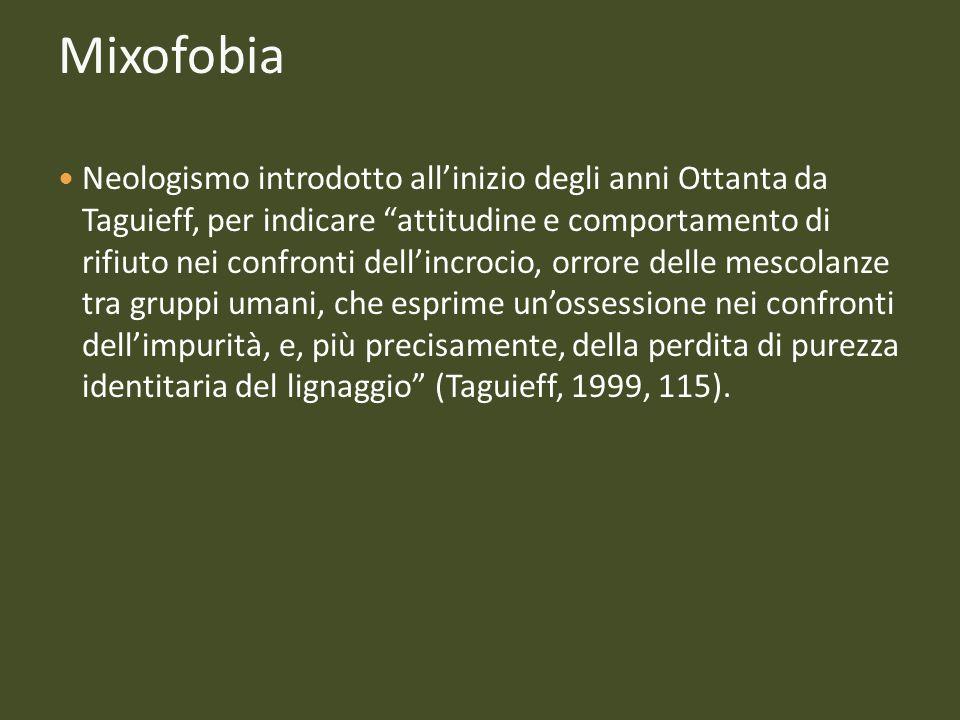 Mixofobia Neologismo introdotto allinizio degli anni Ottanta da Taguieff, per indicare attitudine e comportamento di rifiuto nei confronti dellincroci