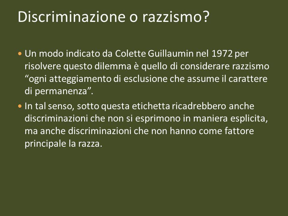 Discriminazione o razzismo? Un modo indicato da Colette Guillaumin nel 1972 per risolvere questo dilemma è quello di considerare razzismo ogni atteggi