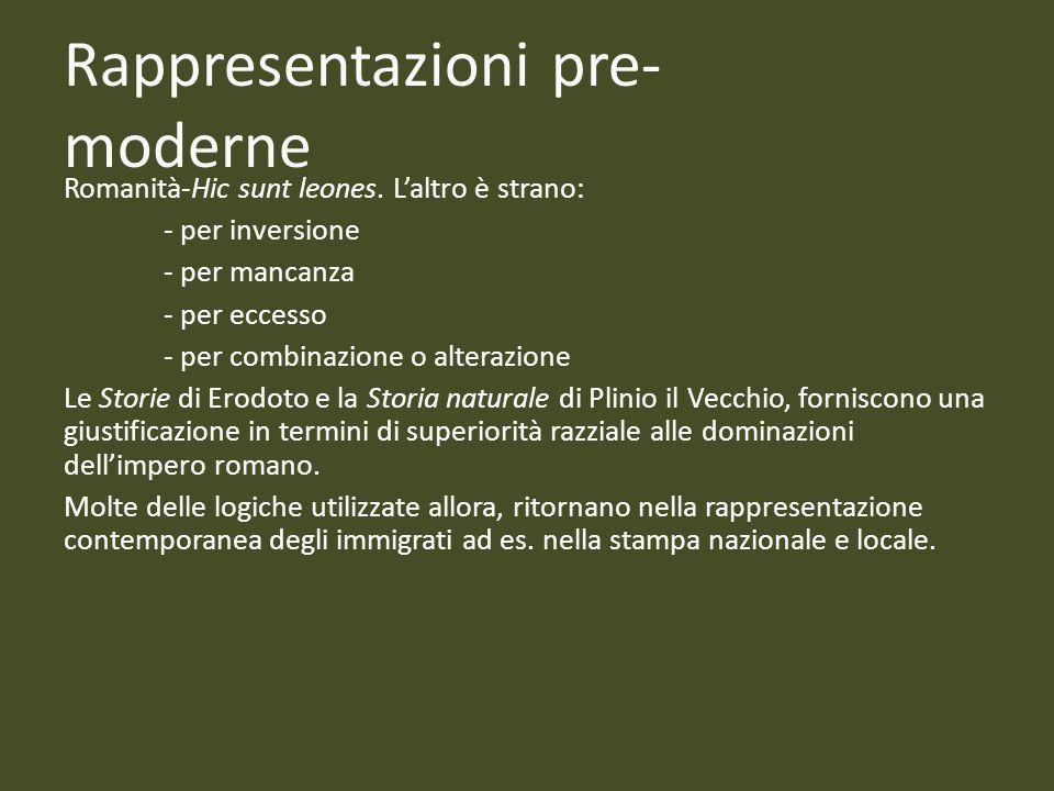Rappresentazioni pre- moderne Romanità-Hic sunt leones. Laltro è strano: - per inversione - per mancanza - per eccesso - per combinazione o alterazion