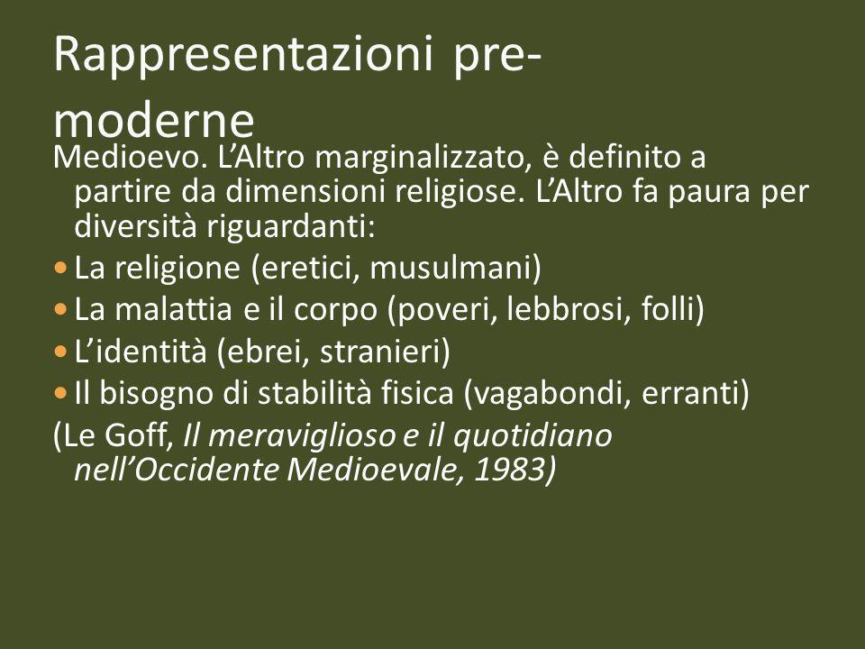 Rappresentazioni pre- moderne Medioevo. LAltro marginalizzato, è definito a partire da dimensioni religiose. LAltro fa paura per diversità riguardanti