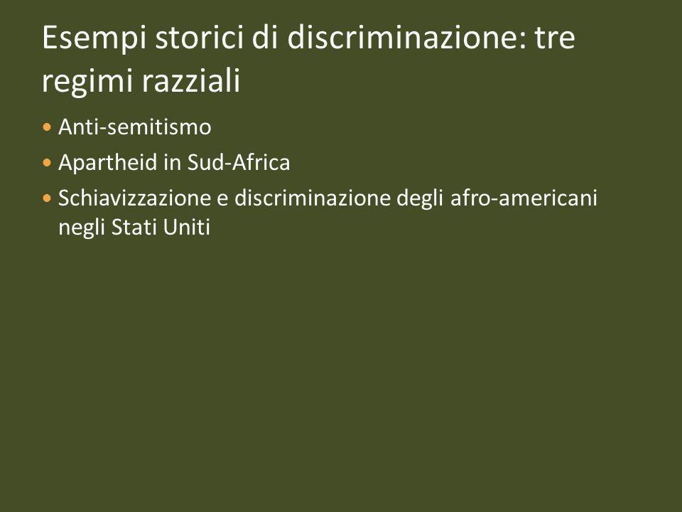 Esempi storici di discriminazione: tre regimi razziali Anti-semitismo Apartheid in Sud-Africa Schiavizzazione e discriminazione degli afro-americani n